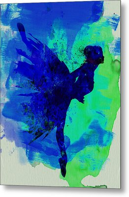 Ballerina On Stage Watercolor 2 Metal Print by Naxart Studio