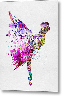 Ballerina On Stage Watercolor 3 Metal Print by Naxart Studio