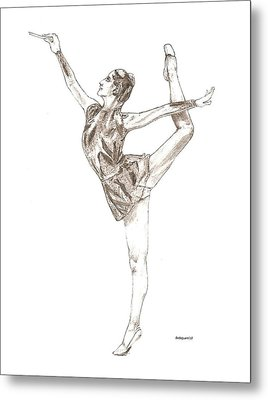 Ballet A Pencil Study In Black And White Metal Print by Mario Perez