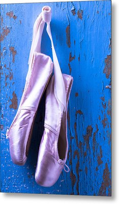 Ballet Shoes On Blue Wall Metal Print by Garry Gay