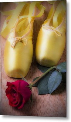 Ballet Shoes With Red Rose Metal Print by Garry Gay
