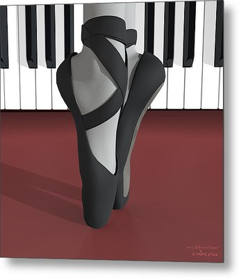 Ballet Toe Shoes Over Royal Red And Piano Keys Metal Print by Andre Price