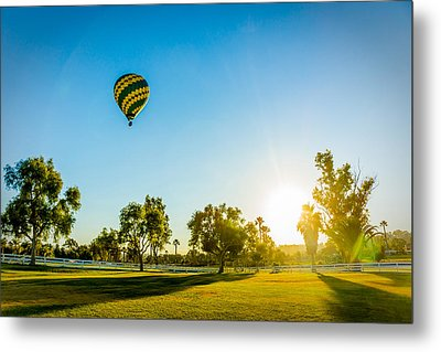 Metal Print featuring the photograph Balloon At Sunset by Alex Weinstein