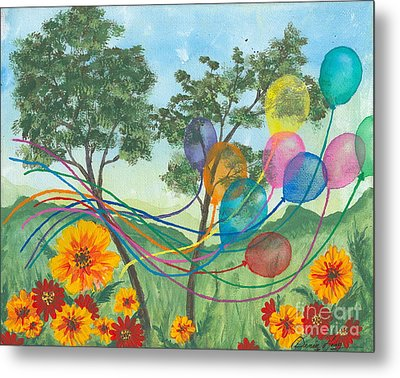 Balloon Release Metal Print by Denise Hoag