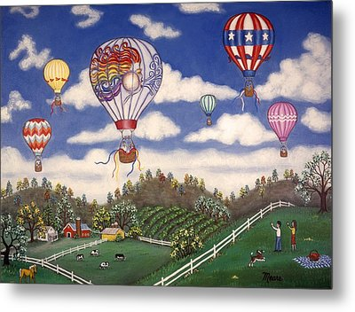 Ballooning Over The Country Metal Print by Linda Mears
