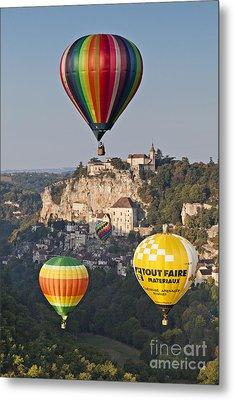 Balloons At Rocamadour Midi Pyrenees France Metal Print by Colin and Linda McKie