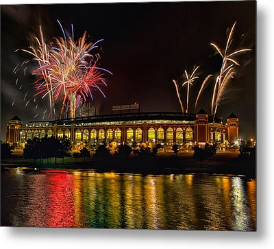 Ballpark Fireworks Metal Print