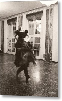 Ballroom Dancers Lift - Sepia Photograph Metal Print by Beverly Brown