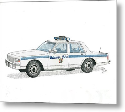 Baltimore City Police Vehicle Metal Print by Calvert Koerber