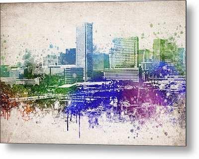 Baltimore City Skyline Metal Print by Aged Pixel