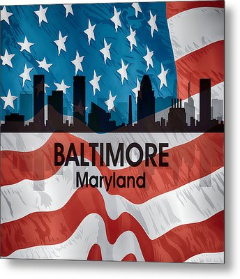Baltimore Md American Flag Squared Metal Print by Angelina Vick