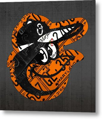 Baltimore Orioles Vintage Baseball Logo License Plate Art Metal Print by Design Turnpike
