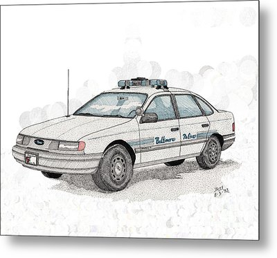 Baltimore Police Car Metal Print by Calvert Koerber