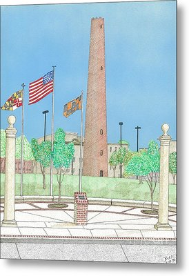 Baltimore Shot Tower Metal Print by Calvert Koerber