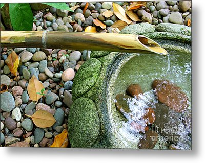 Bamboo Fountain Metal Print