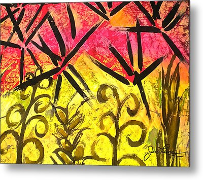 Metal Print featuring the painting Bamboo In The Wind by Joan Reese