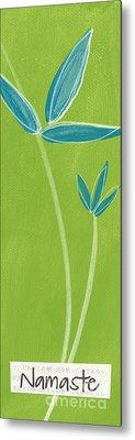 Bamboo Namaste Metal Print by Linda Woods