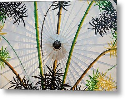 Bamboo Pattern On Painted Parasol, Bo Metal Print
