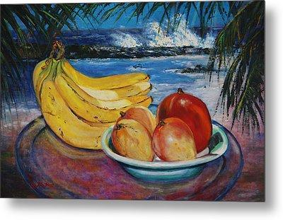 Bananas And Mangoes At Jobo Beach Isabela Metal Print by Estela Robles
