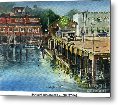 Bandon Boardwalk At Christmas Metal Print by Anthony Coulson