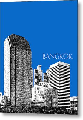 Bangkok Thailand Skyline 2 - Blue Metal Print by DB Artist