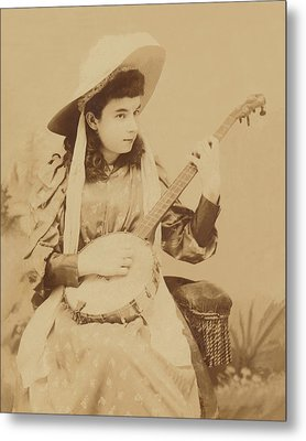 Banjo Girl 1880s Metal Print by Paul Ashby Antique Image