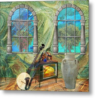 Metal Print featuring the mixed media Banjo Room by Ally  White