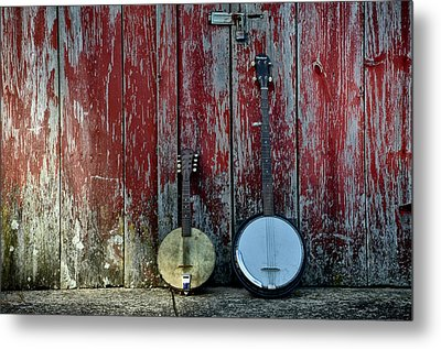 Banjos Against A Barn Door Metal Print by Bill Cannon