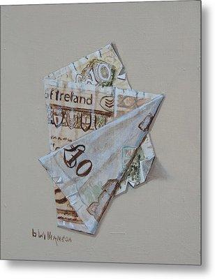 Bank Of Ireland Ten Pound Banknote Metal Print