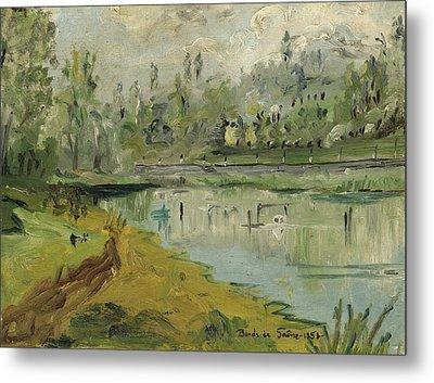 Banks Of The Saone River - Orig. Sold Metal Print by Bernard RENOT