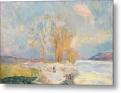 Banks Of The Seine And Vernon In Winter Metal Print