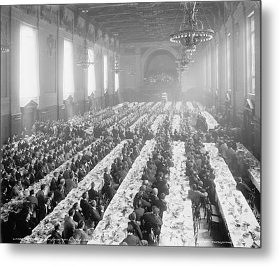 Banquet In Alumni Hall [i.e., University Commons], Yale College, Connecticut, C.1900-06 Bw Photo Metal Print by Detroit Publishing Co.