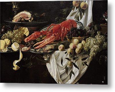 Banquet Still Life, 1644, By Adriaen Van Utrecht 1599-165152 Metal Print