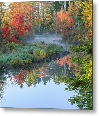 Bantam River Autumn Square Metal Print by Bill Wakeley