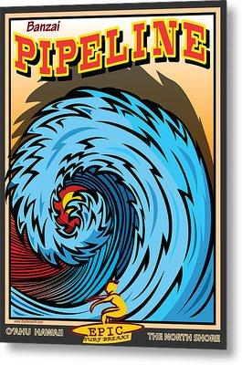 Banzai Pipeline Hawaii Surfing Metal Print by Larry Butterworth