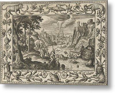 Baptism Of Christ, Adriaen Collaert, Eduwart Van Hoeswinckel Metal Print by Adriaen Collaert And Eduwart Van Hoeswinckel