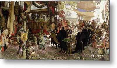 Baptismal Procession Of Prince Juan In Seville Oil On Canvas Metal Print