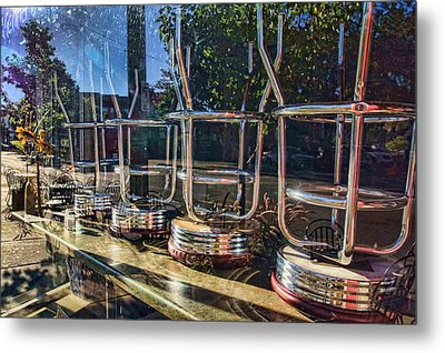 Bar Stools Up Metal Print