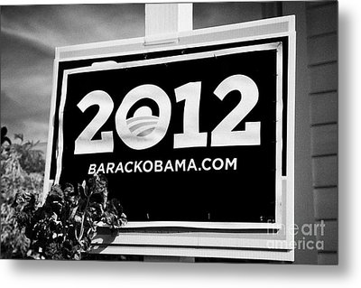 Barack Obama 2012 Us Presidential Election Poster Florida Usa Metal Print by Joe Fox
