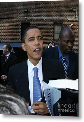 Barack Obama Nyc 4-9-07 Metal Print by Patrick Morgan