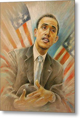 Barack Obama Taking It Easy Metal Print by Miki De Goodaboom