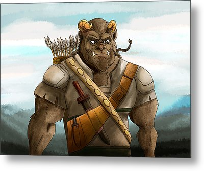 Metal Print featuring the painting Baragh The Hoargg Warrior by Reynold Jay