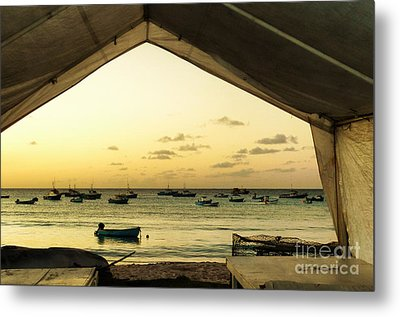 Metal Print featuring the photograph Barbados Fishing Boats In Oistens by Polly Peacock