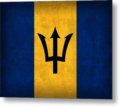 Barbados Flag Vintage Distressed Finish Metal Print by Design Turnpike