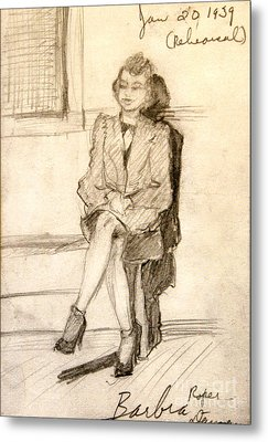 Barbara Waiting For Rehearsal  1939 Metal Print