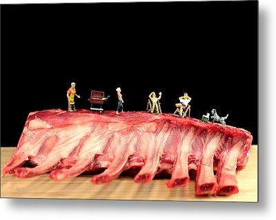 Barbecue On Lamb Ribs Metal Print by Paul Ge