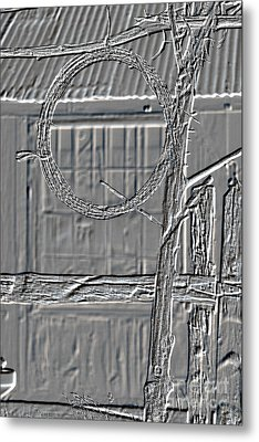 Barbed Wire Metal Print Hanging By Ranch House 3006.04 Metal Print by M K  Miller