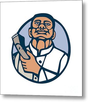 Barber Hair Clipper Scissors Circle Linocut Metal Print by Aloysius Patrimonio
