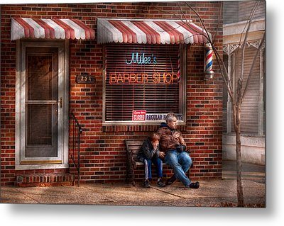 Barber - Metuchen Nj - Waiting For Mike Metal Print by Mike Savad