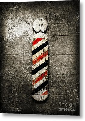 Barber Pole Selective Color Metal Print by Andee Design